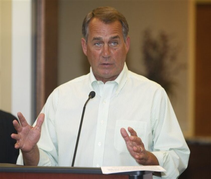 House Speaker John Boehner talks about U.S jobs during a ribbon cutting for the new office of Employers Choice Plus in his home area of West Chester, Ohio, Friday Sept. 2, 2011. (AP Photo/David Kohl)
