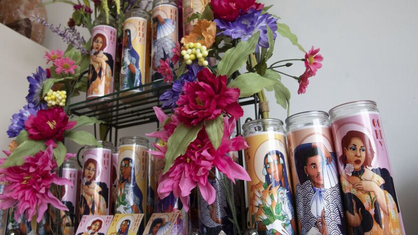 LOS ANGELES, CA-JUNE 26, 2019: Drag queen candles are on display at Mostly Angels on Robertson Blv