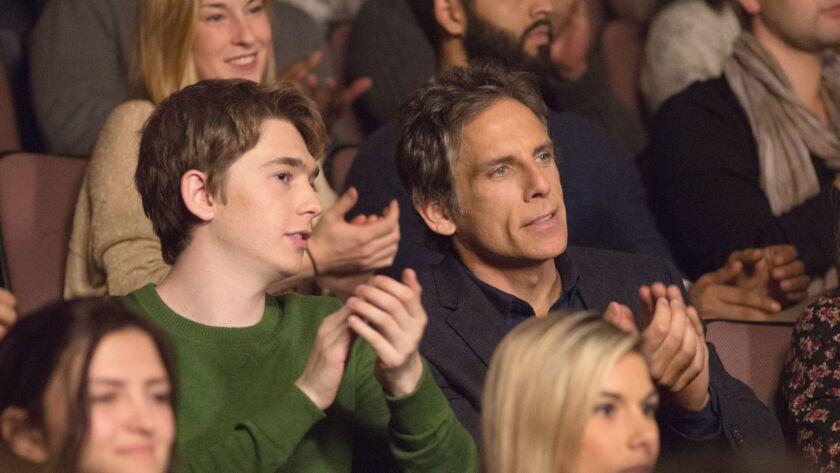 "Ben Stiller, right, with Austin Abrams in Mike White's ""Brad's Status."""