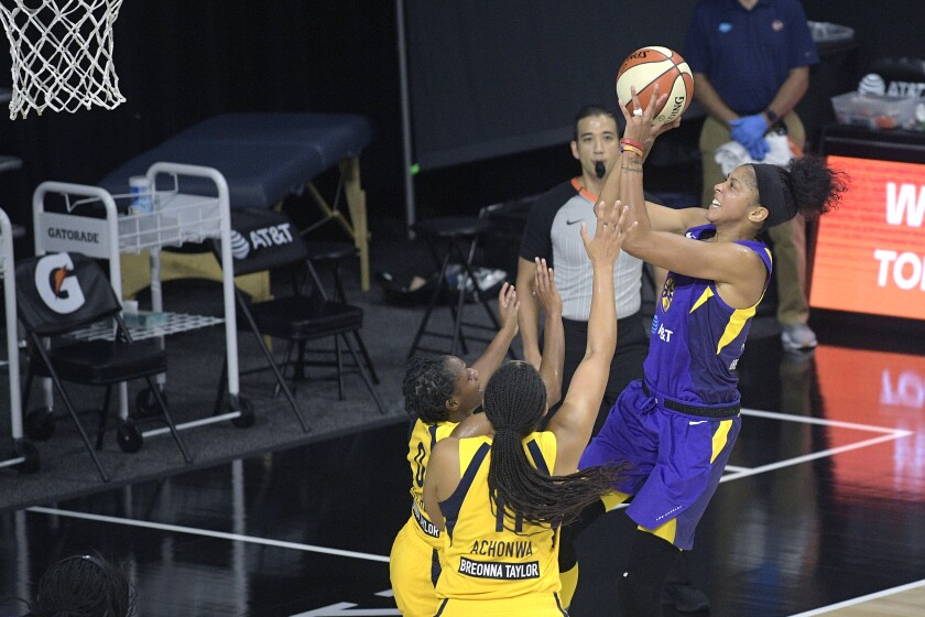 Sparks star Candace Parker takes a shot against the Fever during a game Aug. 15 in Bradenton, Fla.