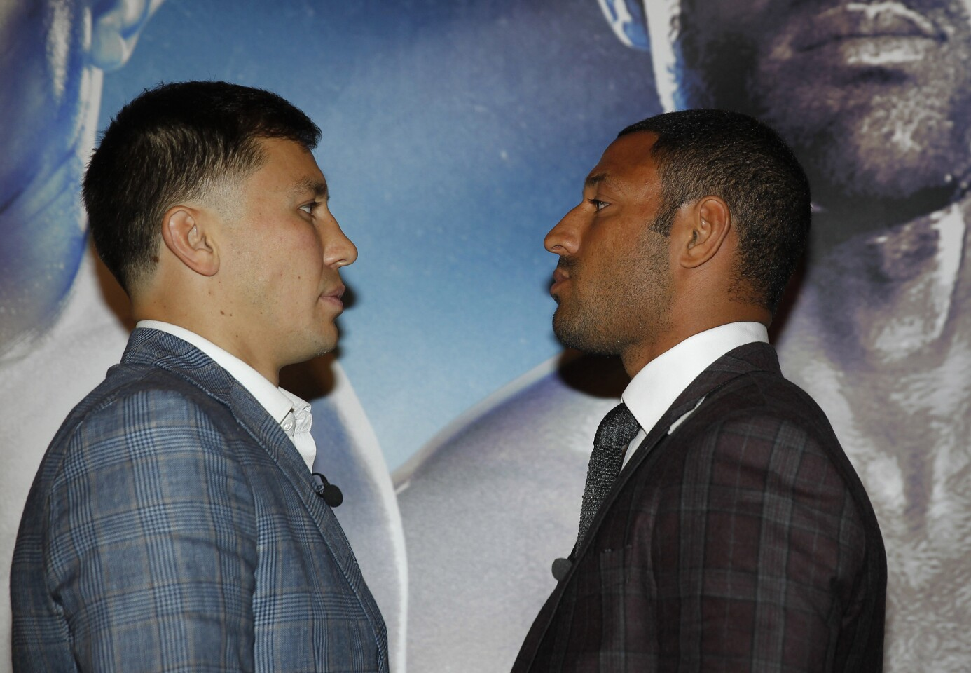 BROOK V GOLOVKIN PRESS CONFERENCE DORCHESTER HOTEL,LONDON PIC;LAWRENCE LUSTIG WORLD MIDDLEWEIGHT TITLE GENNADY GOLVKIN AND KELL BROOK GET TOGETHER TO ANNOUNCE THE FIGHT FOR THE WBA,WBC,IBF AND IBO MIDDLEWEIGHT TITLES AT THE O2 LONDON ON SEPTEMBER 10TH