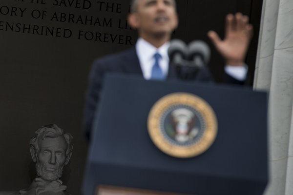 President Obama delivers his address on the 50th anniversary of the March on Washington.