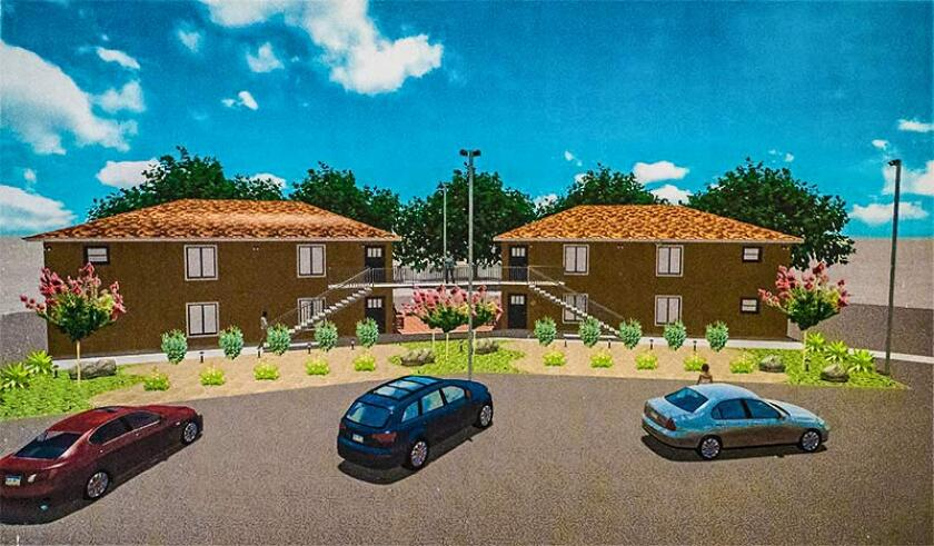 Rendering of two new buildings at East County Transitional Living Center that will house homeless individuals and families.