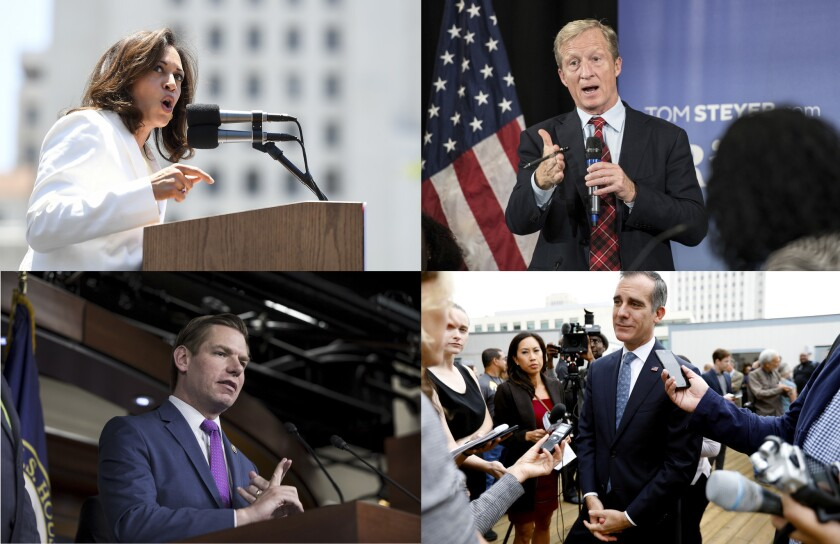 Sen. Kamala Harris, Tom Steyer, Rep. Eric Swalwell and Mayor Eric Garretti