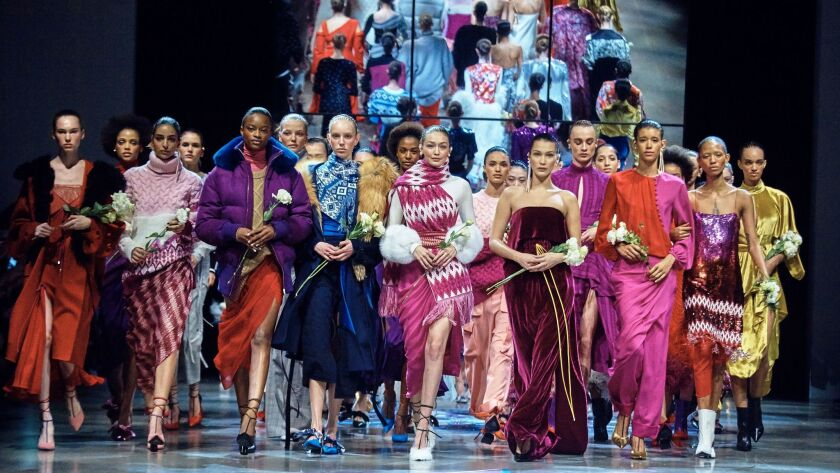 The Prabal Gurung collection is modeled during Fashion Week in New York, Sunday, Feb. 11, 2018. (AP