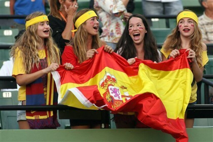 Fans cheer for Rafael Nadal, of Spain, at the Sony Ericsson Open tennis tournament in Key Biscayne, Fla., Thursday, March 31, 2011. (AP Photo/Jeffrey M. Boan)