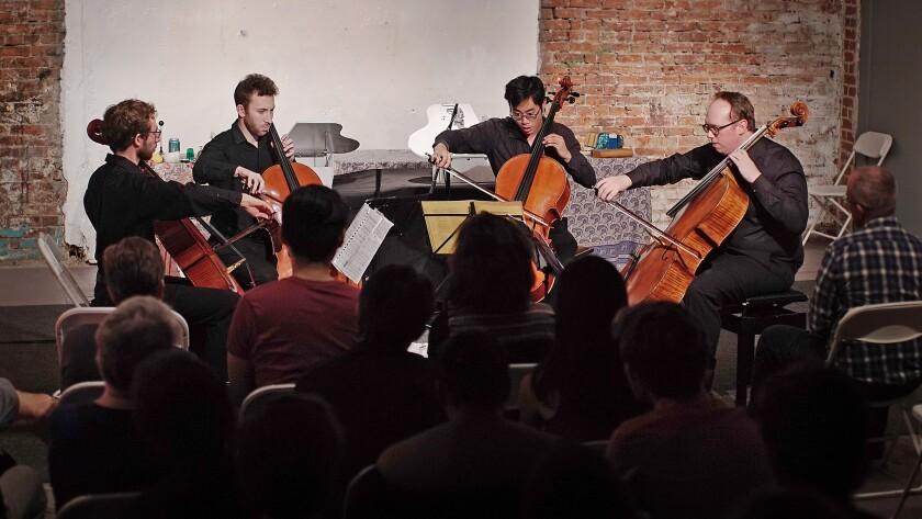"Sakura plays ""Quarternion"" by Sofia Gubaidulina. From left, Peter Myers, Michael Kaufman, Yoshika Masuda and Jonathan Dormand."