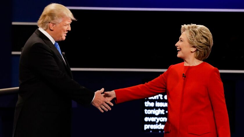 Donald Trump and Hillary Clinton at the Sept. 26, 2016, presidential debate.