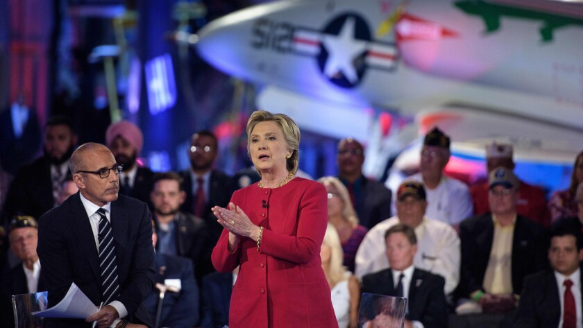 Hillary Clinton speaks during a military issues forum Wednesday in New York.