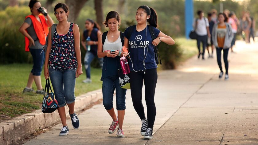 Students arrive in 2015 for classes at the Los Angeles Center for Enriched Studies, a racially diverse magnet school in the Los Angeles Unified School District.