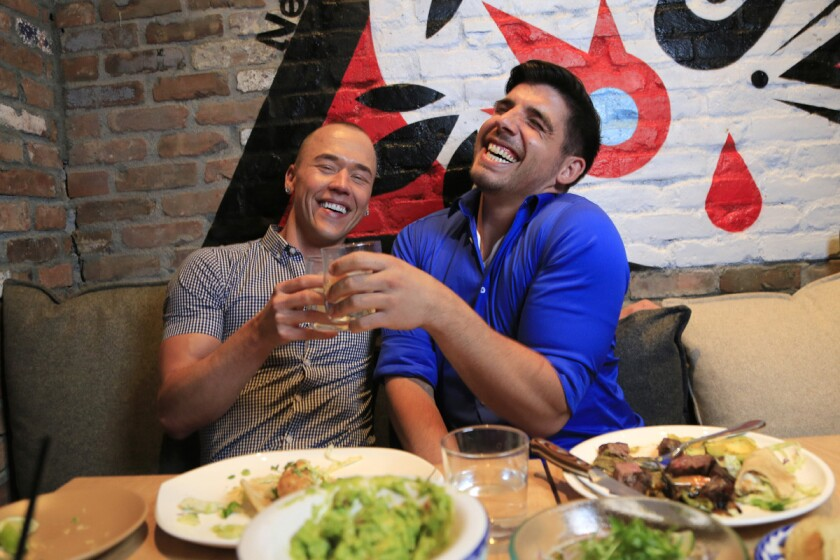 Cristian and Richard dined at Curadero, a Mexican restaurant in downtown San Diego. (David Brooks)