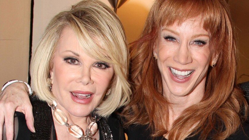 """Comedians and friends Joan Rivers, left, and Kathy Griffin backstage at """"Kathy Griffin Wants a Tony!"""" on Broadway at the Belasco Theater on March 18, 2011."""