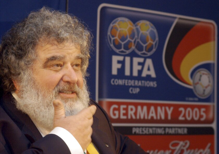 FILE - In this Feb. 14, 2005 file photo, Confederation of North, Central American and Caribbean Association Football (CONCACAF)  Secretary General  Chuck Blazer as he attends a news conference in Frankfurt, Germany.  Blazer was one of four men who pleaded guilty in the Justice Department's corrupti