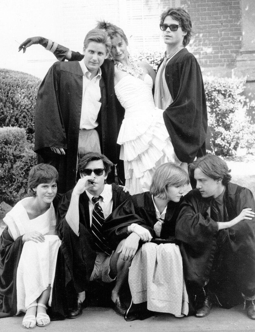 "Emilio Estevez, Demi Moore, Rob Lowe, Ally Sheedy, Judd Nelson, Mare Winningham and Andrew McCarthy in ""St. Elmo's Fire."""