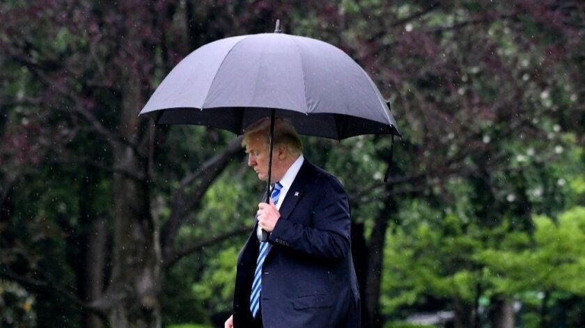 President Trump departs White House to visit First Lady in hospital, Washington, USA - 16 May 2018