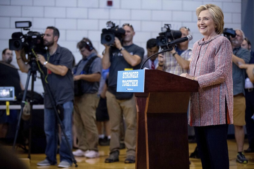 Democratic presidential candidate Hillary Clinton takes a question at a rally at the University of North Carolina, in Greensboro, N.C., on Sept. 15.