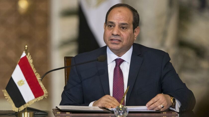 A Dec. 11, 2017, file photo of Egyptian President Abdel Fattah Sisi speaking during a news conference in Cairo.
