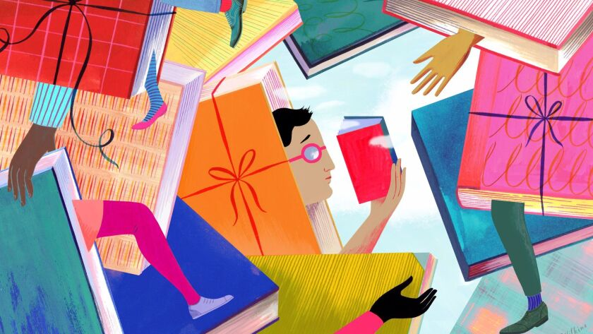 Illustration of people holding books and emerging from books