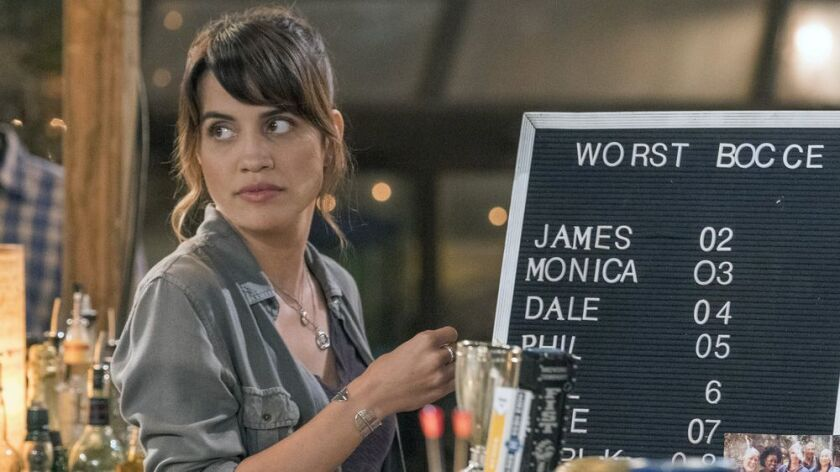"""Natalie Morales as Abby, who runs a bar in her backyard, in the new NBC comedy """"Abby's."""""""