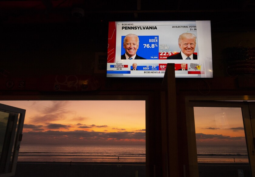Early Pennsylvania election results are shown on a television at a bar in as the sun set sets in San Diego Tuesday.