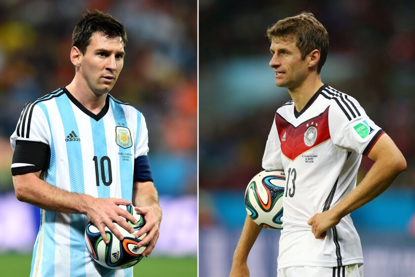 In this composite image a comparison has been made between Lionel Messi of Argentina and Thomas Mueller of Germany. Germany and Argentina play each other in the 2014 FIFA World Cup Brazil Final on July 13, 2014 in the Maracana Stadium in Rio De Janeiro,Brazil.