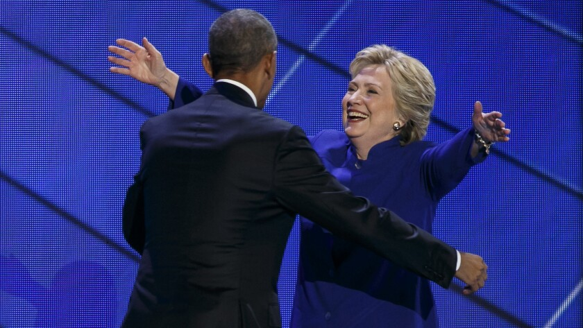 President Obama and Hillary Clinton at the Democratic National Convention in Philadelphia.