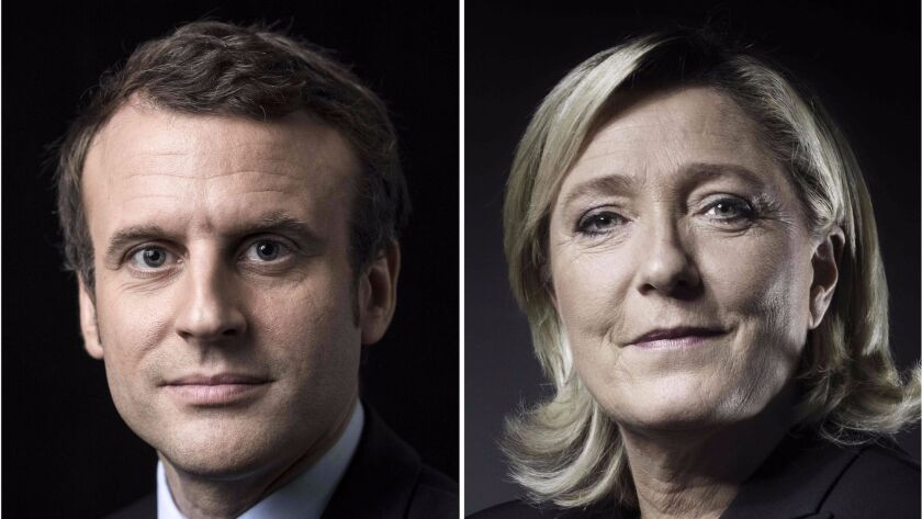 A combination of picture made on April 23, 2017 shows French presidential election candidate for the