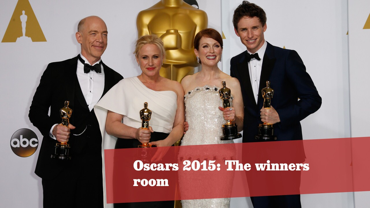 J.K. Simmons, left, Patricia Arquette, Julianne Moore and Eddie Redmayne pose with their Oscars. Click through for more photos from the winners' room at the 87th Academy Awards.