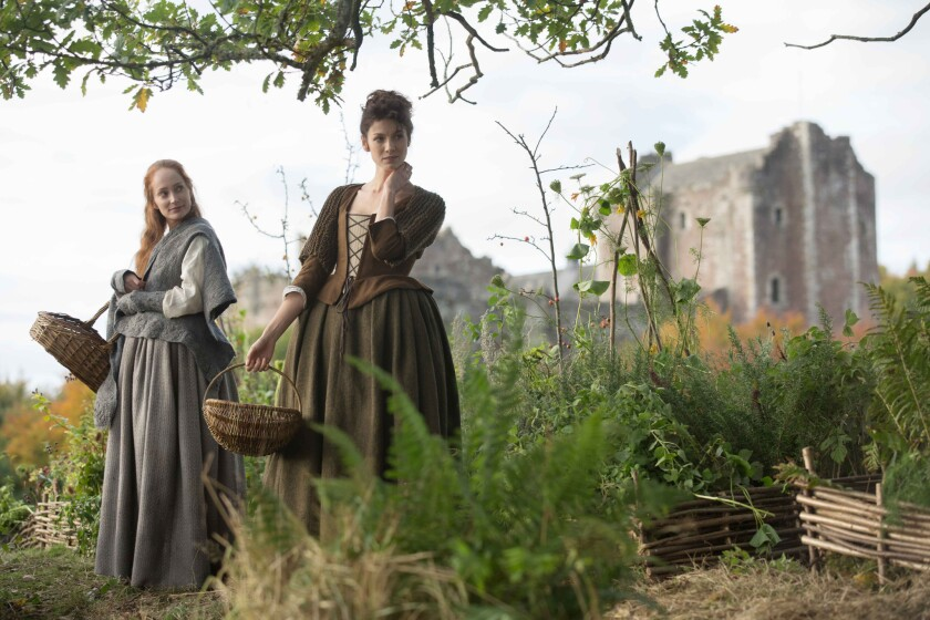 """Lotte Verbeek and Caitriona Balfe in the Starz series """"Outlander."""""""