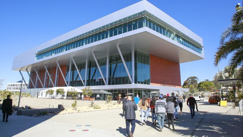 Exterior of the new 85,000-square-foot library and learning resource center at Palomar College in San Marcos on Friday.