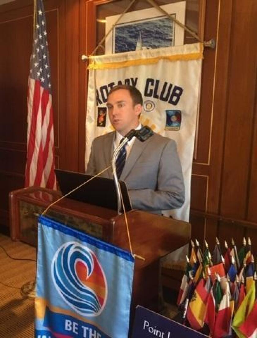 Michael Semanchik, managing attorney at the California Innocence Project, speaks at the Point Loma Rotary Club luncheon, Oct. 5 at the San Diego Yacht Club.