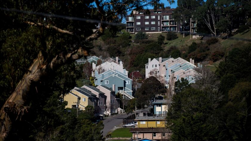 SAUSALITO, CA - DECEMBER 20: Houses lining Buckelew Street are photographed on December 20, 2017 in