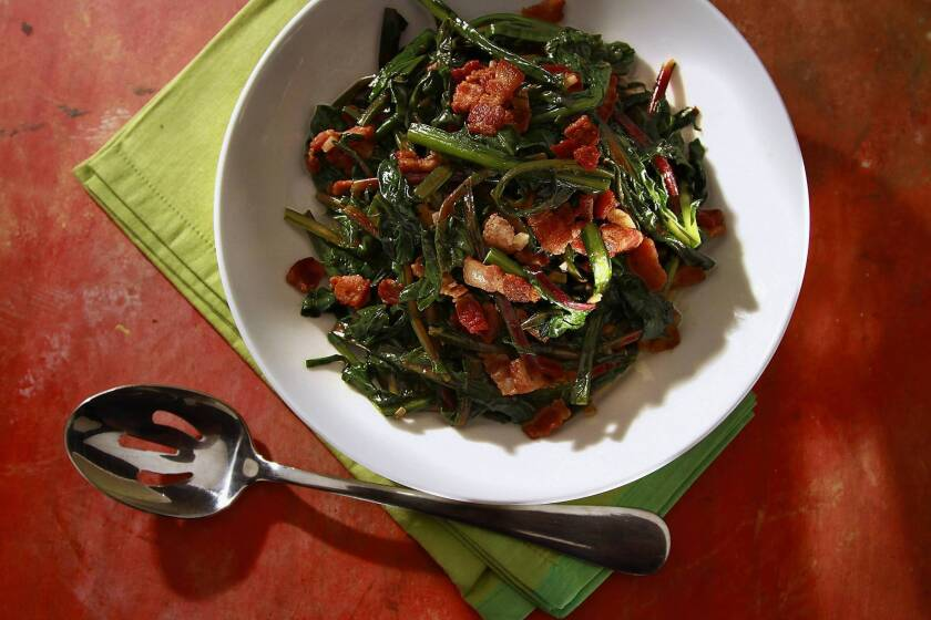 Recipe: Wilted dandelion greens with bacon