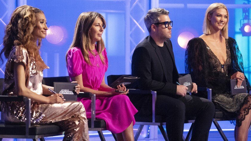 "Elaine Welteroth, left, Nina Garcia, Brandon Maxwell and host Karlie Kloss in the season premiere of ""Project Runway"" on Bravo."