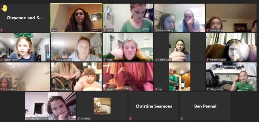 Poway 4-H members holding a virtual meeting on Feb. 3.