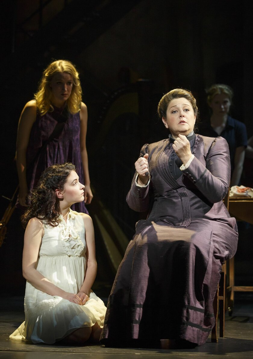 """In this image released by Boneau/Bryan-Brown, Camryn Manheim, right, appears with Sandra Mae Frank, foreground left, and Katie Boeck during a performance of """"Spring Awakening,"""" in New York. The former """"The Practice"""" star is showcasing a sign language skill in a crackling Broadway revival of """"Spring"""
