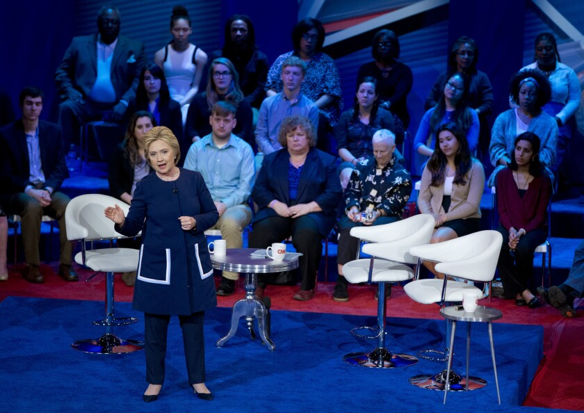 Democratic presidential candidates Hillary Clinton at the CNN/TV One Ohio town hall in Columbus, Ohio.