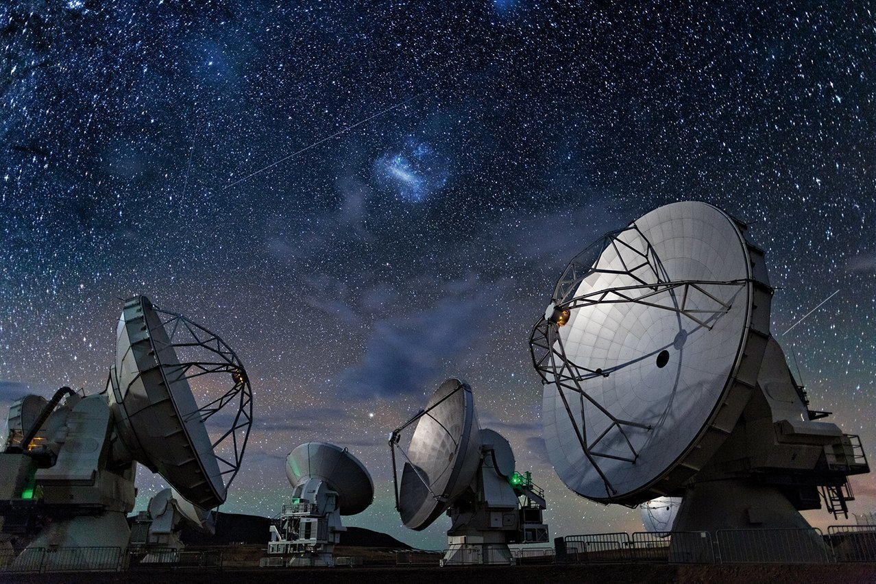 The Atacama Large Millimeter/submillimeter Array, a massive radio telescope known as ALMA, is on the Chajnantor Plateau in Chile's Atacama Desert. Perched at more than 16,000 feet above sea level, the telescope has 66 antennas which act together as a single telescope to provide data to international scientists.