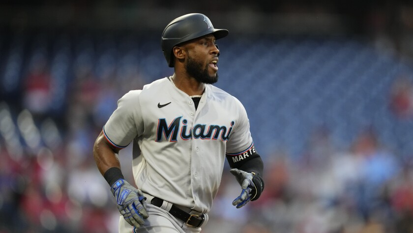 FILE - Miami Marlins' Starling Marte plays during a baseball game against the Philadelphia Phillies in Philadelphia, in this Tuesday, June 29, 2021, file photo. Outfielder Starling Marte was traded Wednesday, July 28, 2021, by the Miami Marlins to the Oakland Athletics for left-hander Jesus Luzardo. (AP Photo/Matt Slocum, File)