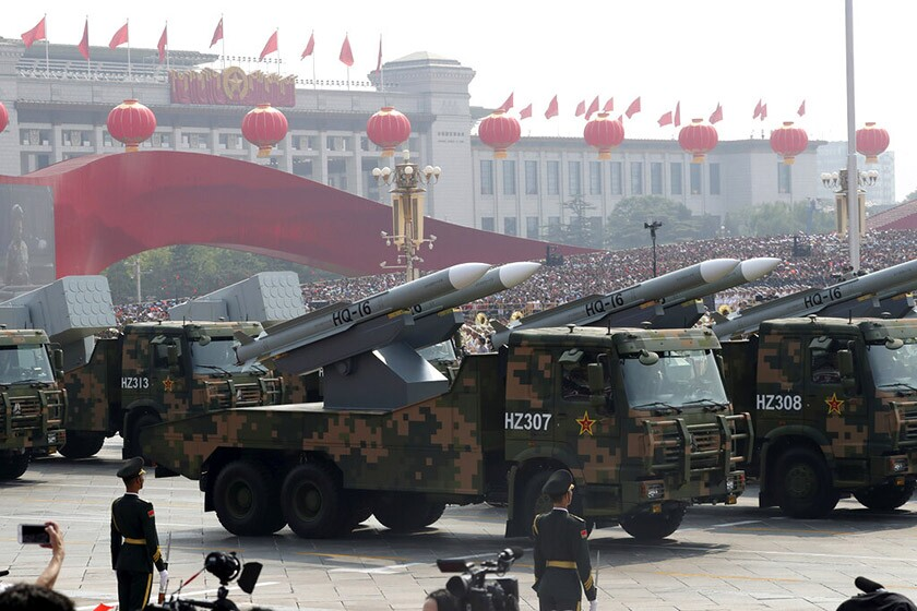 Military vehicles are featured during a parade Tuesday in Beijing to commemorate the 70th anniversary of the founding of communist China.