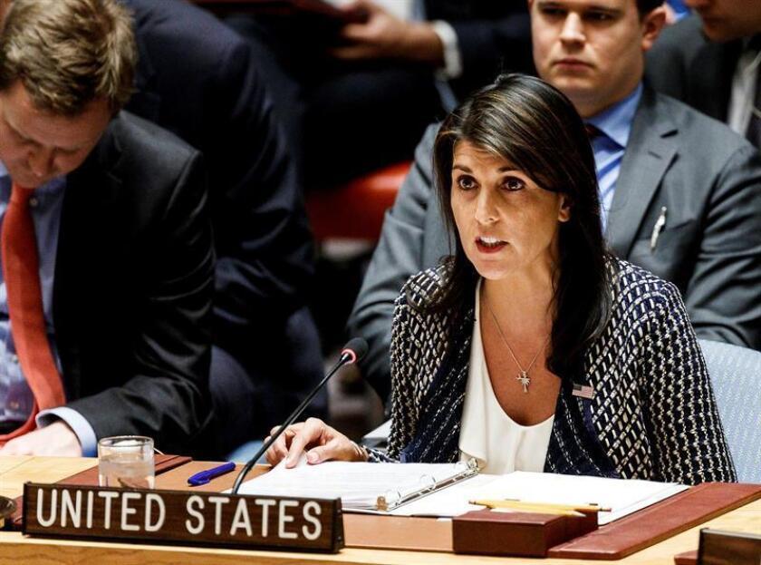 La embajadora estadounidense ante Naciones Unidas, Nikki Haley, interviene en el Consejo de Seguridad de la ONU. EFE/Archivo