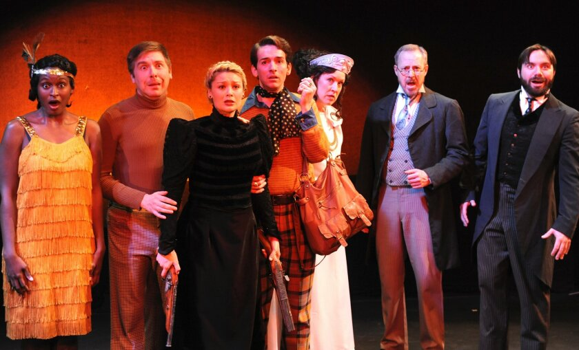 """Lynaé DePriest as Flossie, Tony Houck as Steven, Jacque Wilke as Hedda, Luke Jacobs as Patrick, Shana Wride as Medea, Andrew Oswald as Tesman and Dangerfield G. Moore as Lovborgh in Diversionary Theatre's production of """"The Further Adventures of Hedda Gabler."""" CREDIT: KEN JACQUES"""