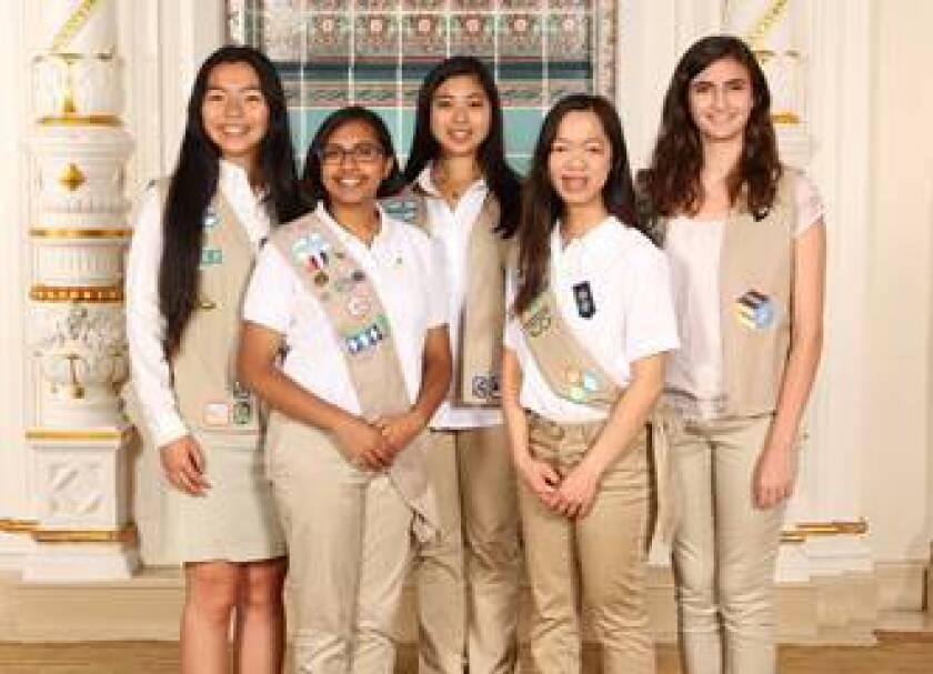 Carmel Valley residents (l-r) Brittany Jiang, Maya Kota, Kara Nepomuceno, Rachel Lian and Julia Camilleri recently earned the Girl Scout Gold Award, the organization's highest honor.