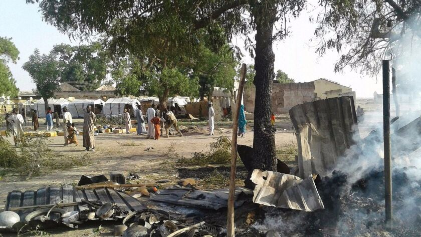 A Nigerian air force jet mistakenly bombed a refugee camp in northeast Nigeria on Jan. 17, 2017.