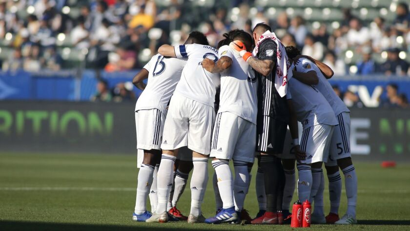 The Galaxy huddle before the start of a game against Real Salt Lake at Dignity Health Sports Park on April 28 in Carson.