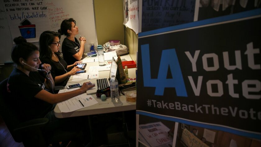 Volunteers work their cell phones to encourage young voters to vote in the Boyle Heights on Nov. 3, 2016.