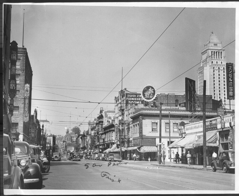 The corner of 1st and San Pedro streets in Little Tokyo in 1933.