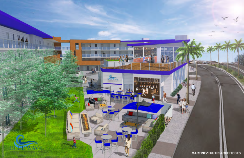 Renderings for the proposed Blue Wave hotel and residential apartments. The mixed-use development has been approved by Imperial Beach's Design Review Board, but still needs to be approved by the City Council.