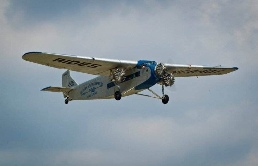 'The 'Tin Goose' — the 1920 Ford Tri-Motor — will be available for rides at Gillespie Field in El Cajon.