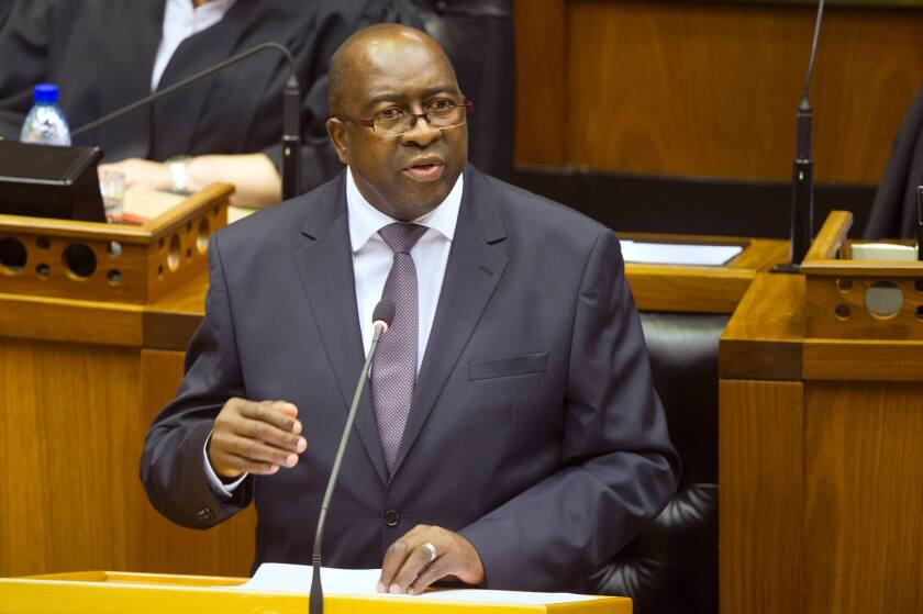Then-South African Finance Minister Nhlanhla Nene delivers a speech at the National Assembly in Cape Town on Feb. 25.